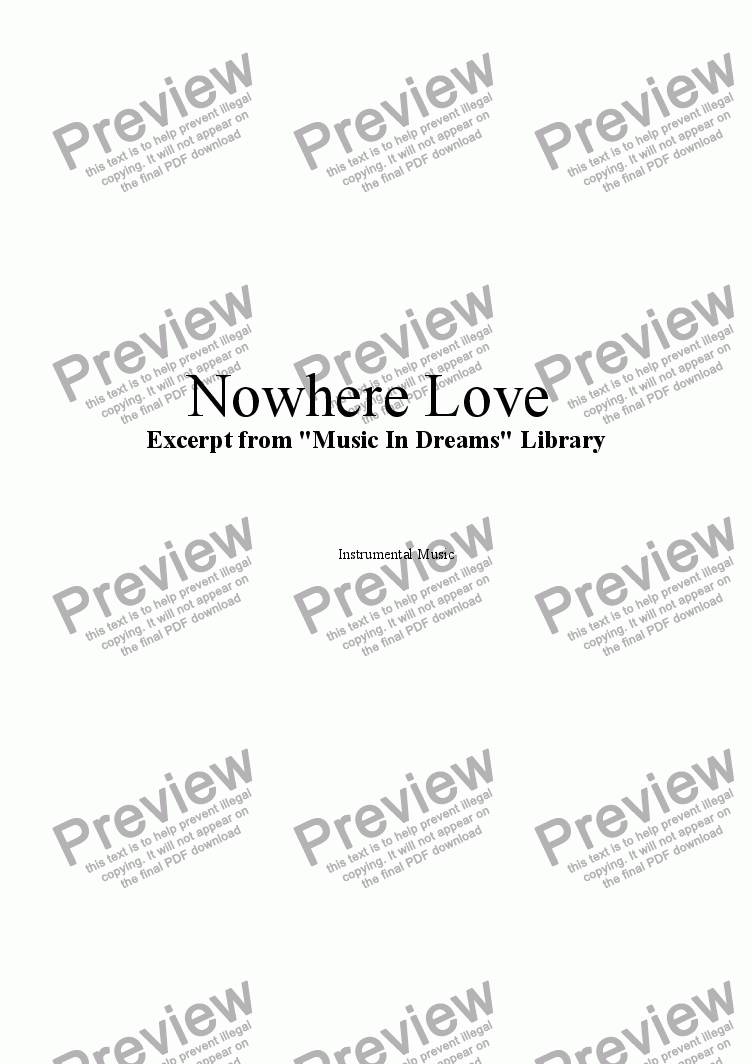 page one of Nowhere Love