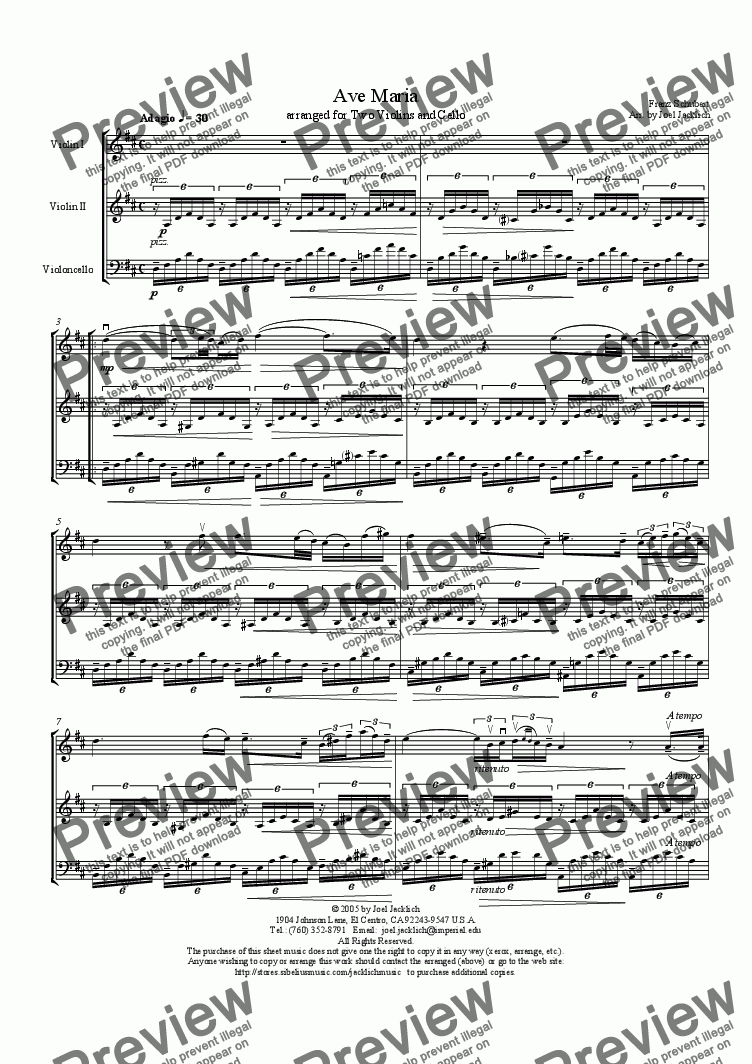 page one of Ave Maria (Two Violins and Cello w/solo in violin) D-High