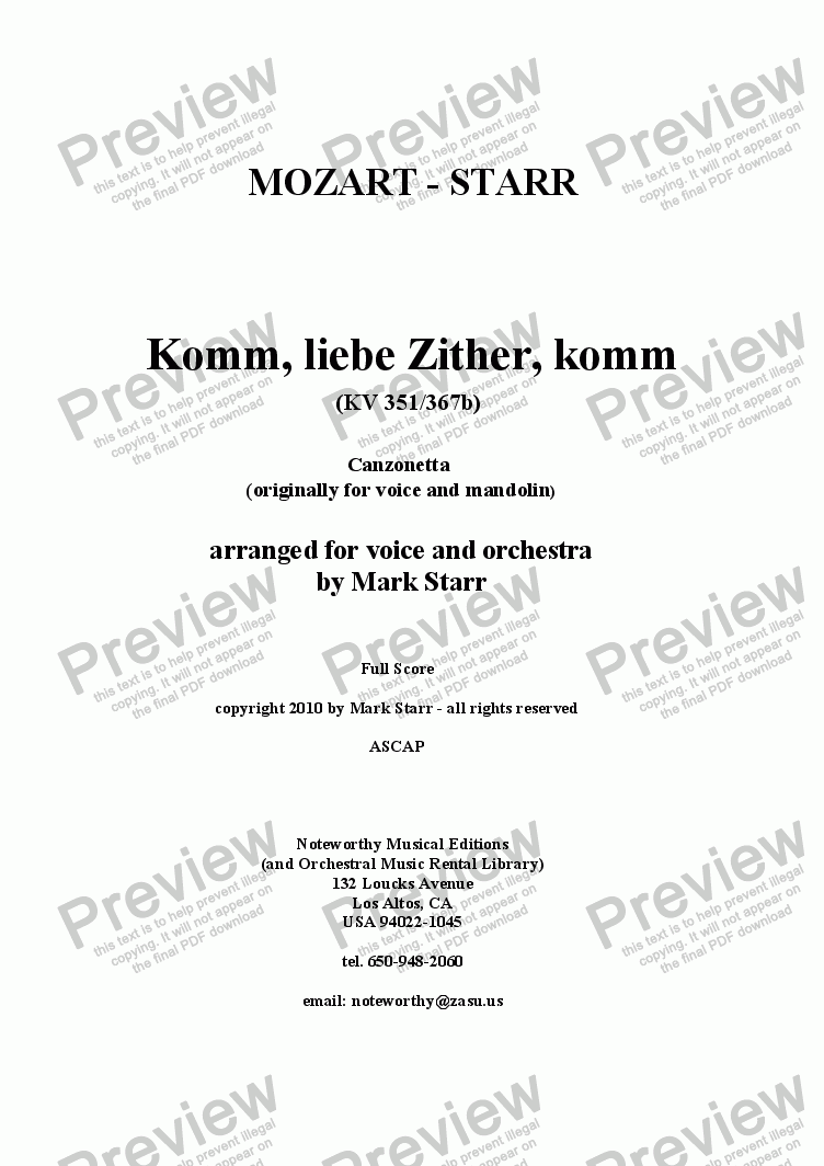 page one of MOZART - STARR; Komm, Liebe Zither, Komm, KV 351/367b (song for voice and mandolin arranged by Mark Starr for voice and orchestra)