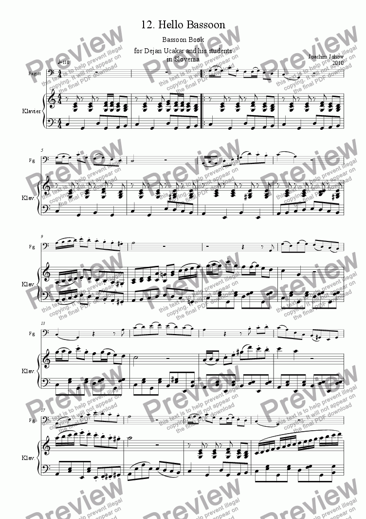 page one of Bassoon Book 12 (Hello Bassoon)