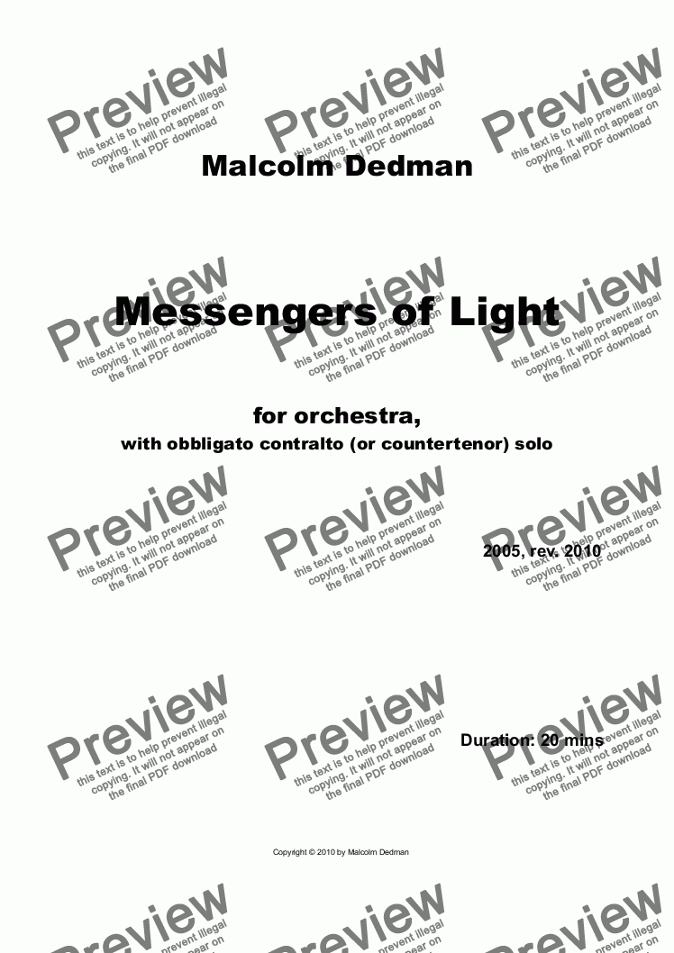 page one of Messengers of Light
