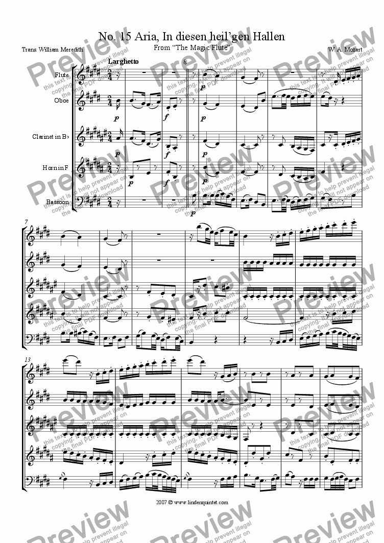 page one of Mozart - Magic Flute No. 15 and 16