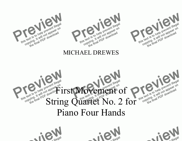 page one of String Quartet No. 2 - First Movement for  Piano Four Hands