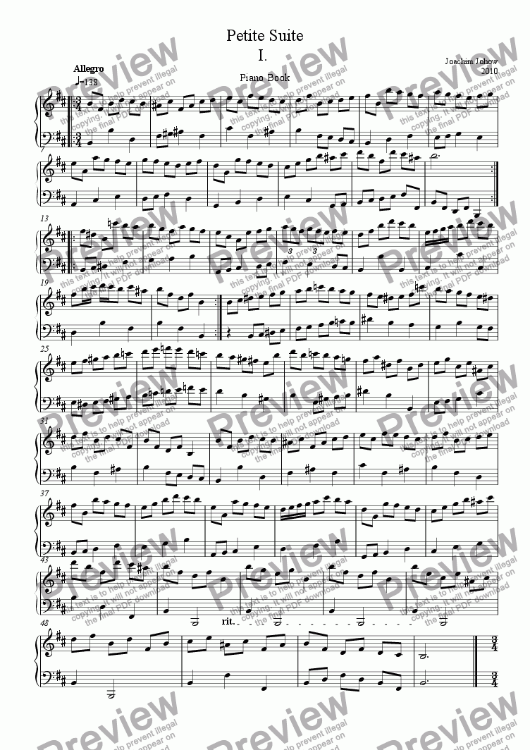 page one of Piano music  (Petite Suite)