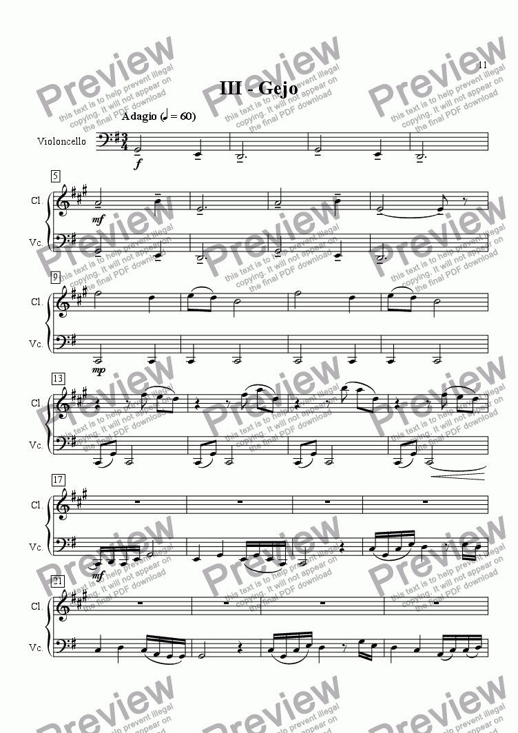 page one of Japanese Suite for Clarinet and Cello III.  GejoASALTTEXT