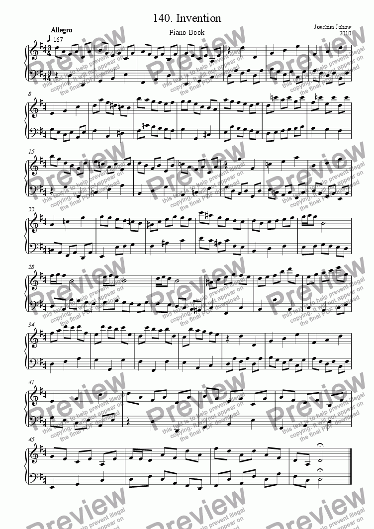 page one of Piano Book 140 (Invention)