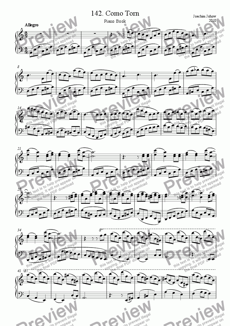 page one of Piano Book 142 (Como Torn)
