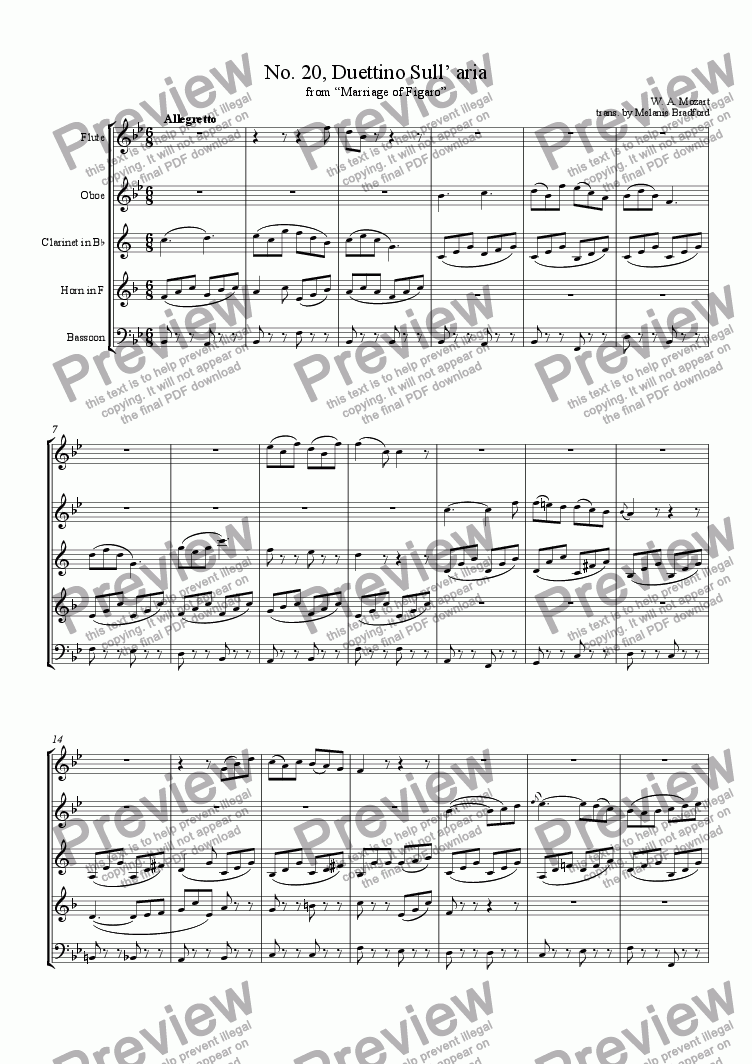page one of Mozart - Marriage of Figaro No. 20