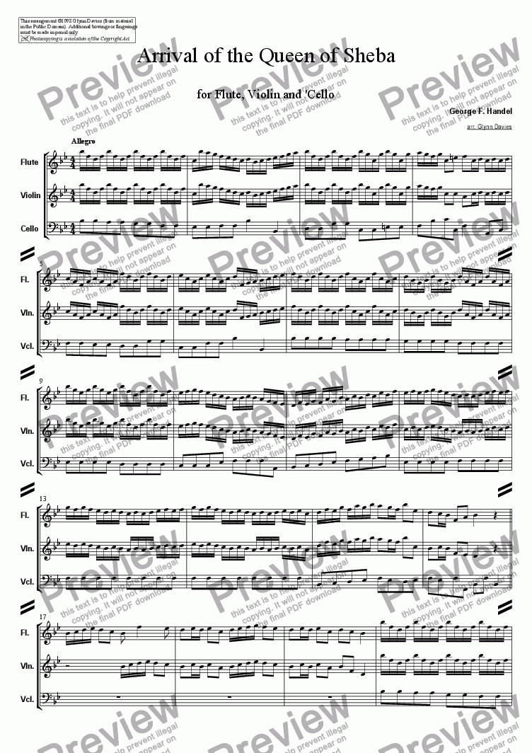 "page one of Solomon - Act III, Sinfonia ""Arrival of the Queen of Sheba"""