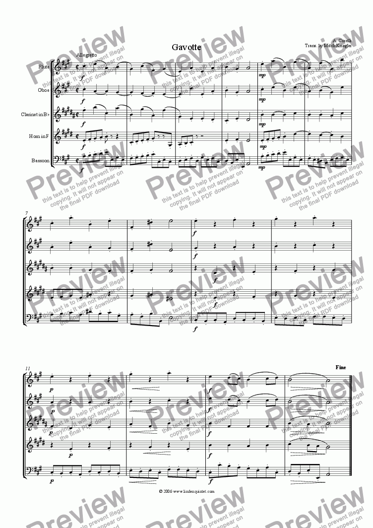 page one of Corelli - Gavotte