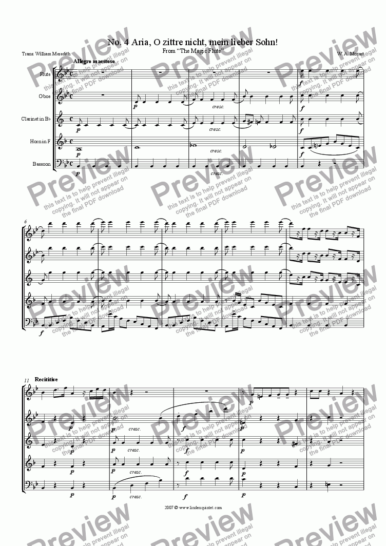 page one of Mozart - Magic Flute No. 04 O zittre nicht