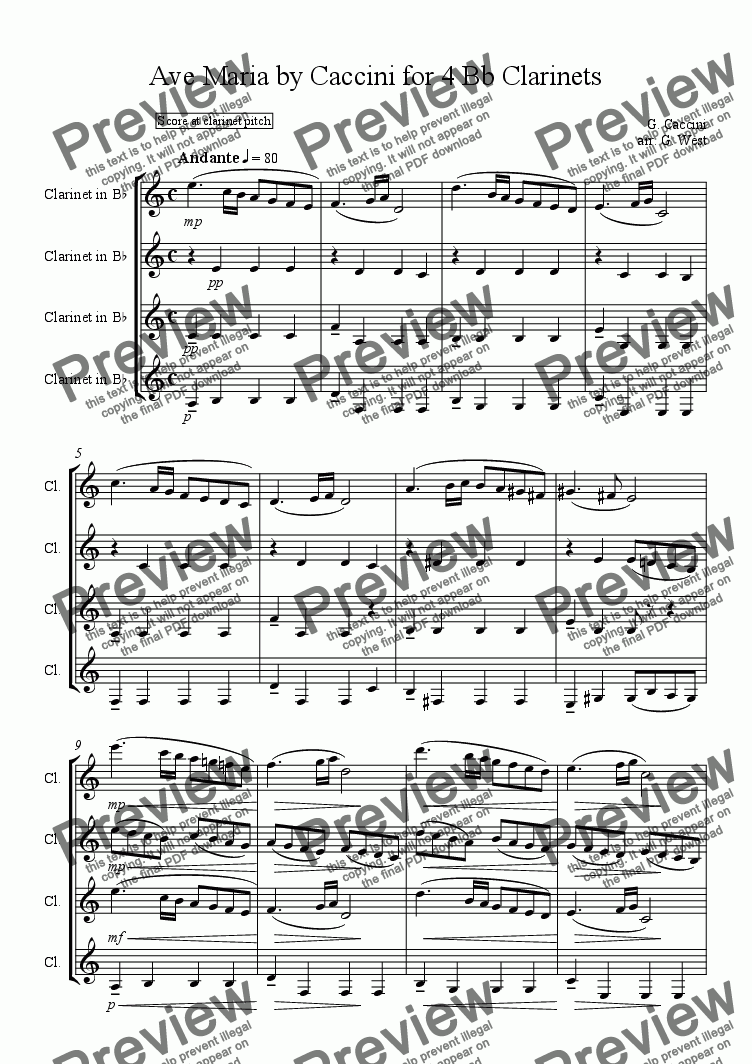 page one of  Ave Maria by Caccini for 4 Bb Clarinets