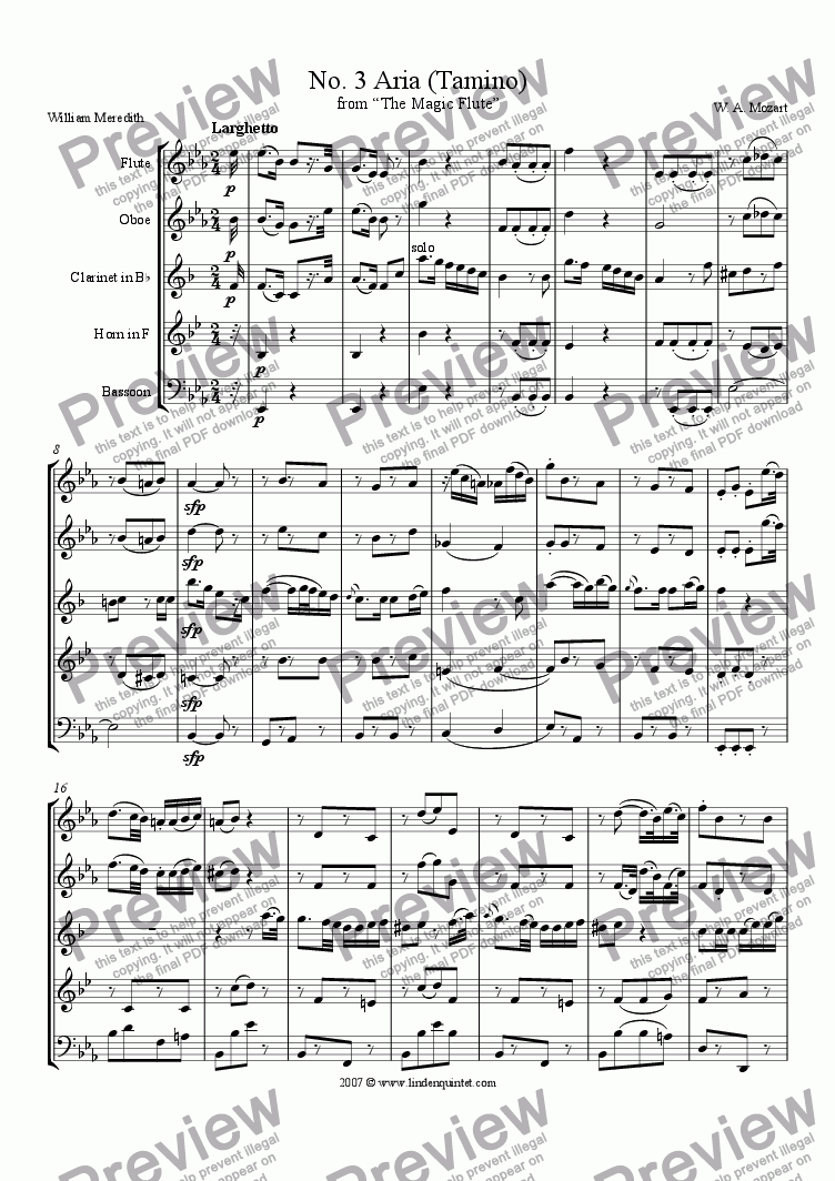 page one of Mozart - Magic Flute No. 03 Tamino's Aria