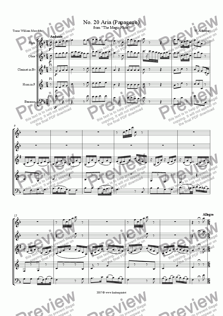 page one of Mozart - Magic Flute No. 20 Papageno