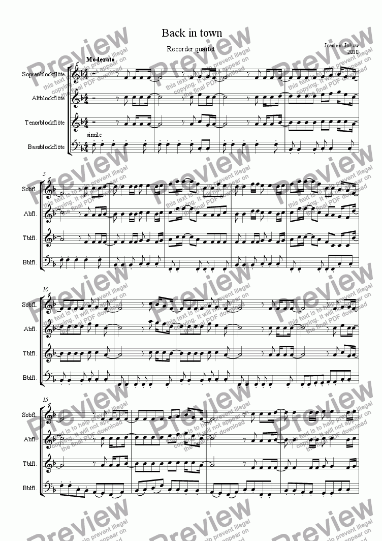 page one of Recorder Quartet 02 (Back in town)