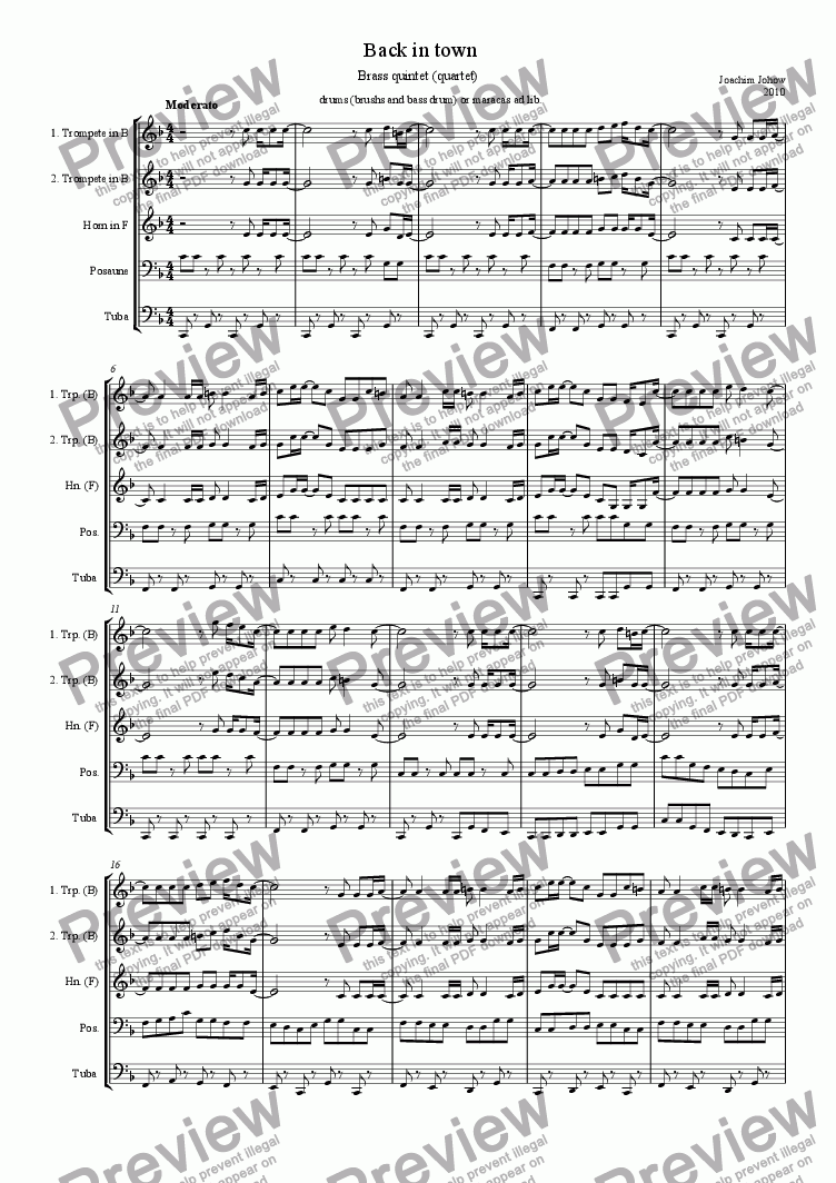 page one of Brass quintet (Back in town)