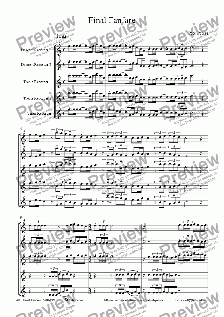 page one of Final Fanfare [Recorder 5tet version]