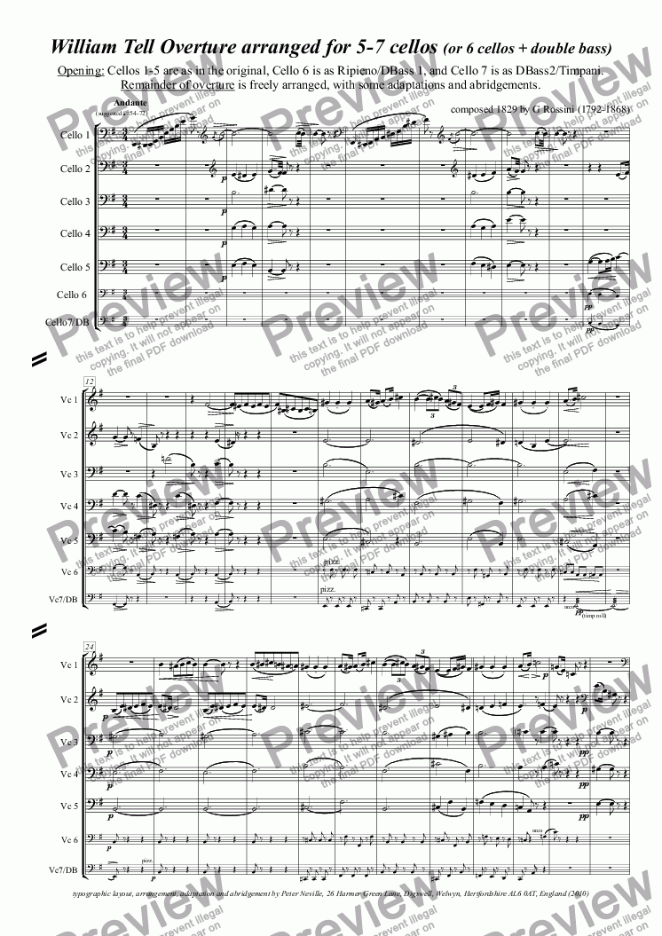 page one of William Tell Overture (all four episodes) for 7celli, or for 6+DbleBass
