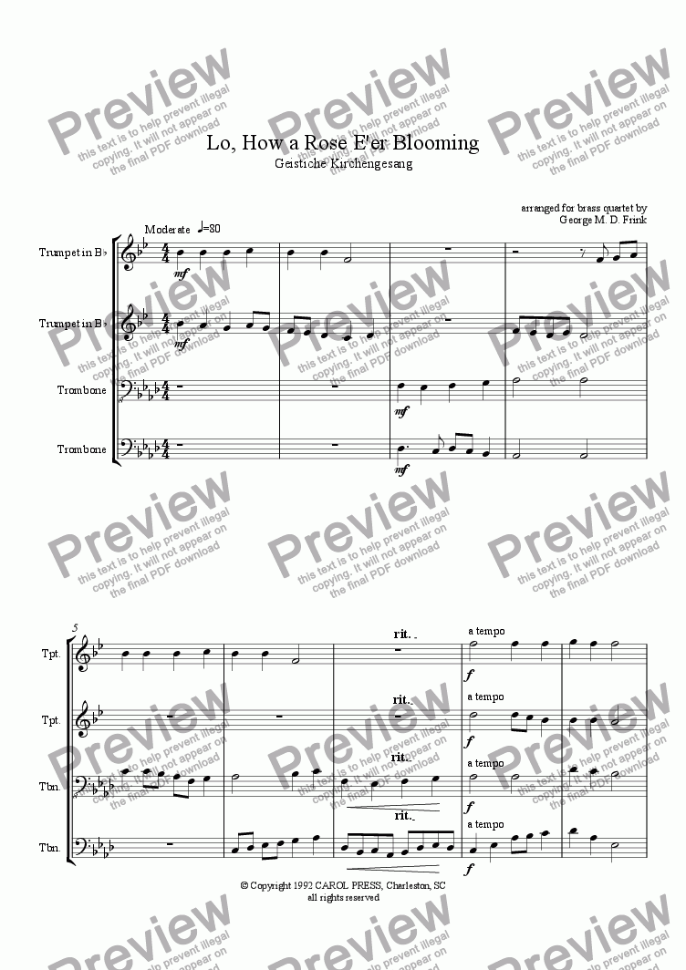 page one of Lo, How a Rose E'er Blooming (brass quartet)