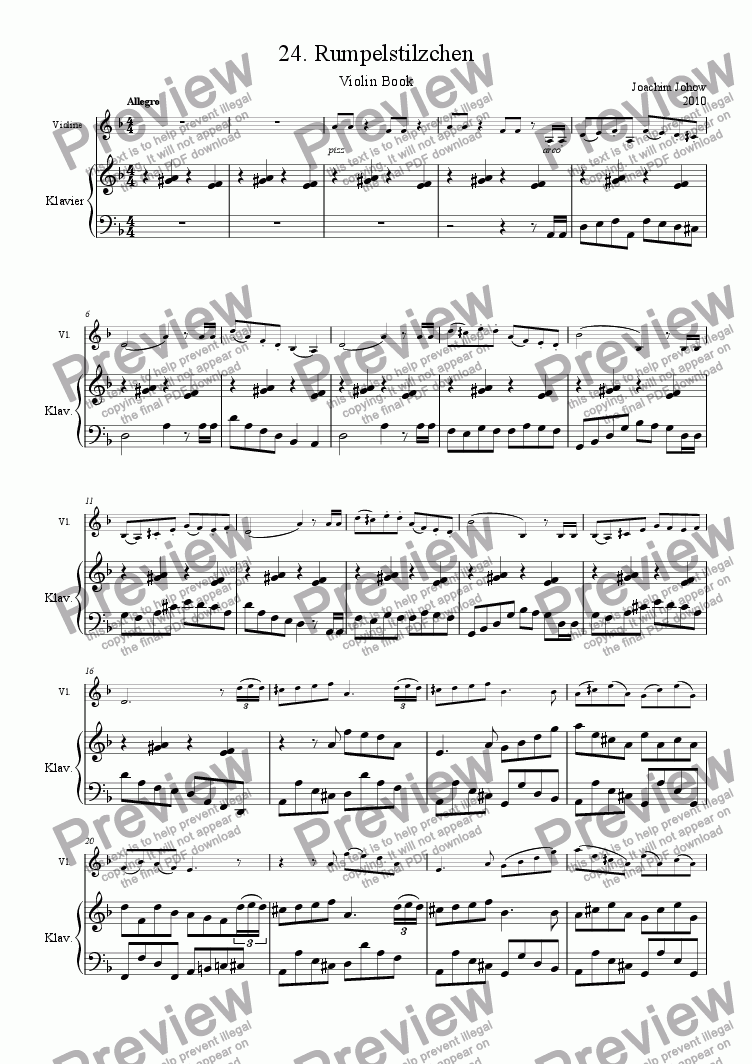 page one of Violin Book 24 (Rumpelstilzchen)