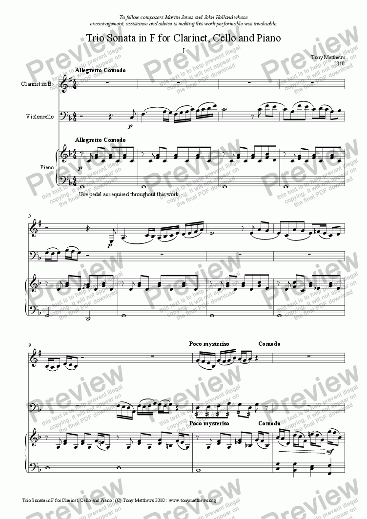 page one of Sonata in F for Clarinet, Cello and Piano