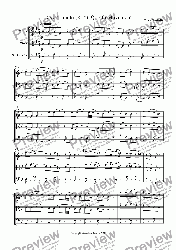 page one of Divertimento for String Trio K.563 - 4th Movement - Andante