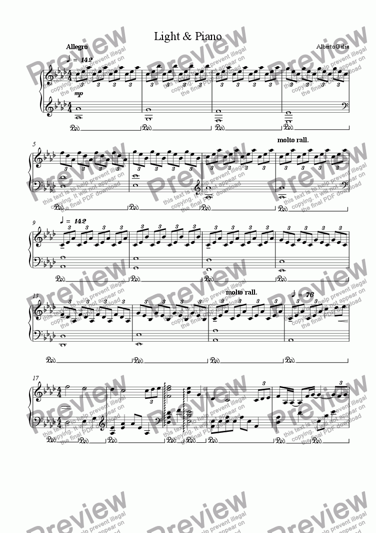 page one of Light & Piano