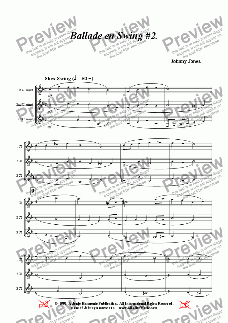 page one of Ballade en Swing Nos 2.  (3 Bb Clarinets)