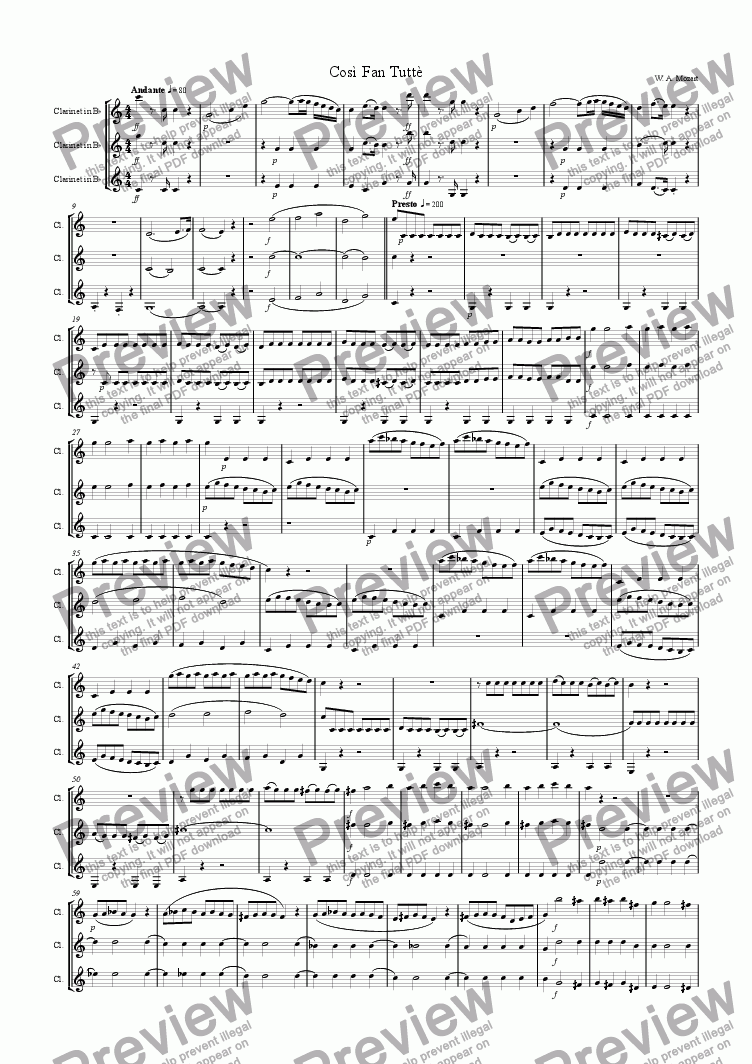 page one of Cosi Fan Tutte Overture