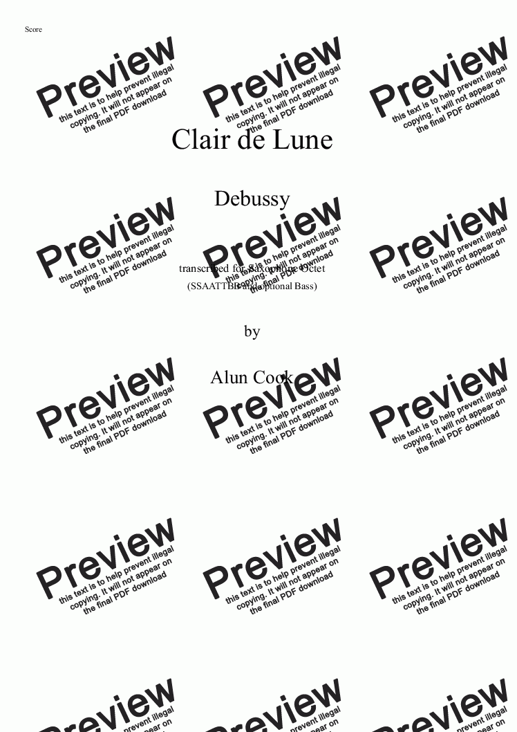 page one of Clair de Lune (Saxophone Octet)