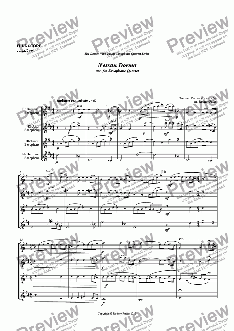 page one of Nessun Dorma arr. for Saxophone Quartet
