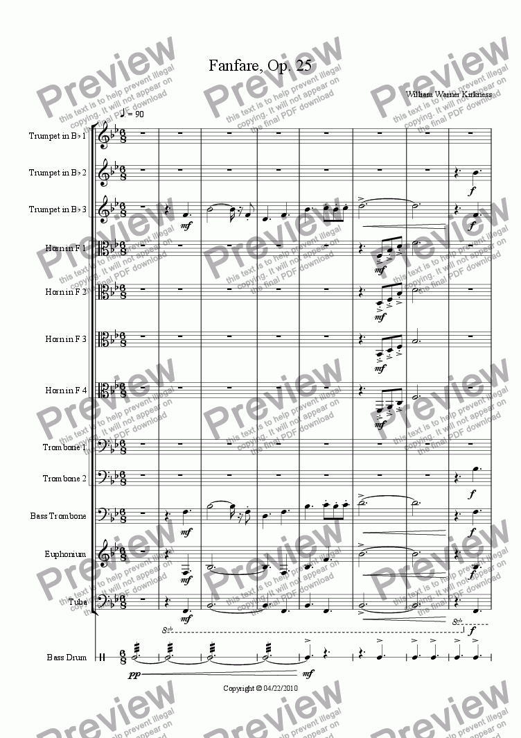 page one of Fanfare, Op. 25