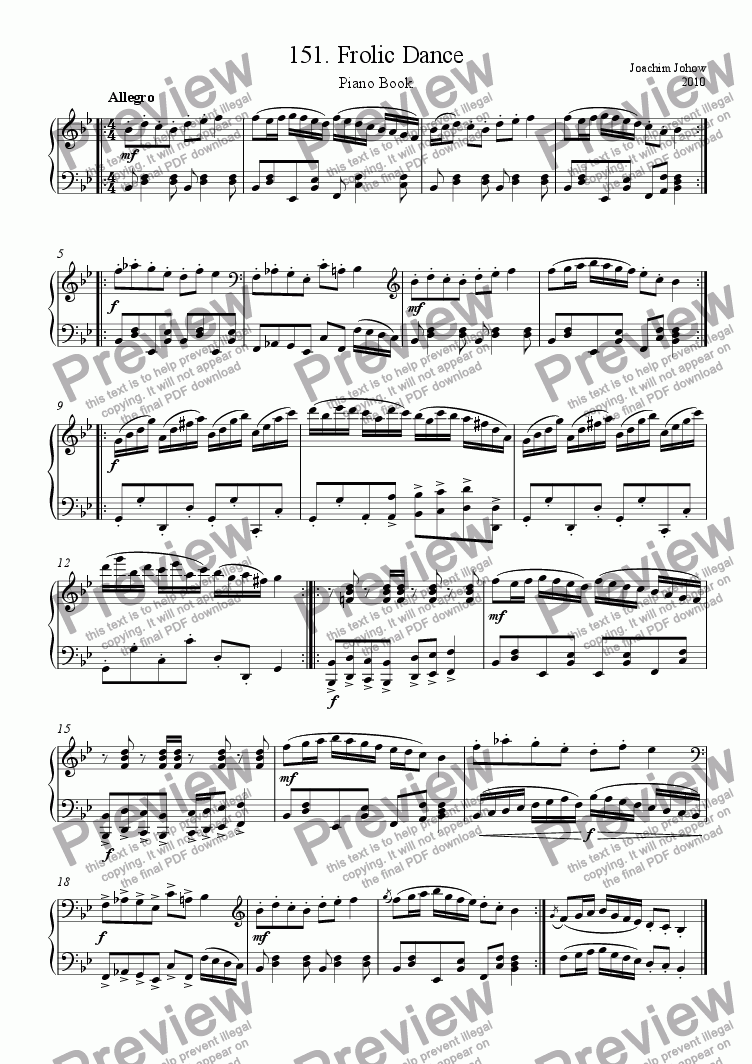 page one of Piano Book 151 (Frolic Dance)