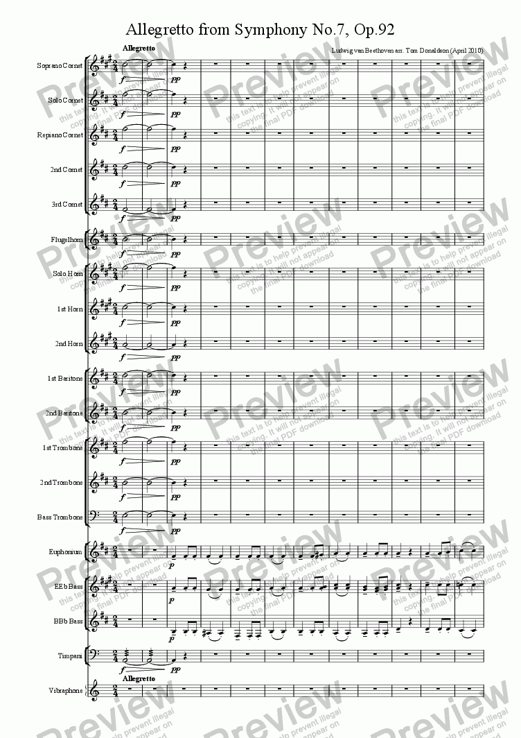 page one of BRASS BAND - Allegretto from Symphony No.7, Op.92