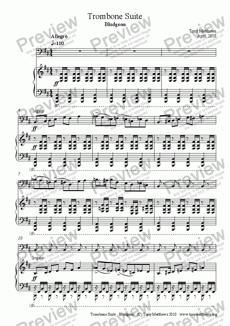page one of Trombone Suite : Bludgeon