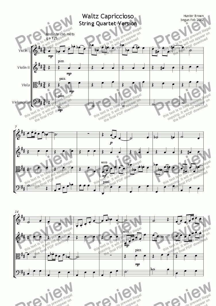 page one of String Quartet - Waltz CapricciosoASALTTEXT