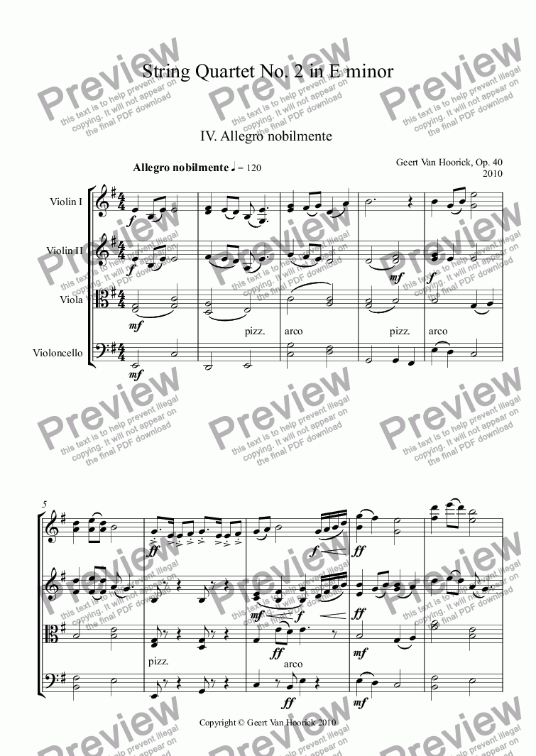 page one of String quartet No. 2 in E minor, Op. 40 - IV. Allegro nobilmente