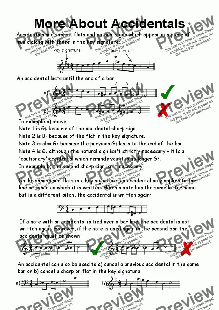 page one of Helpsheet: More About Accidentals