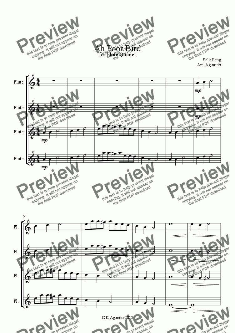 page one of Ah, Poor Bird (Flute Quartet)