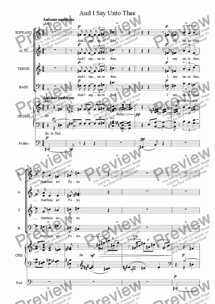page one of And I Say Unto Thee [SATB, organ] [+mp3]