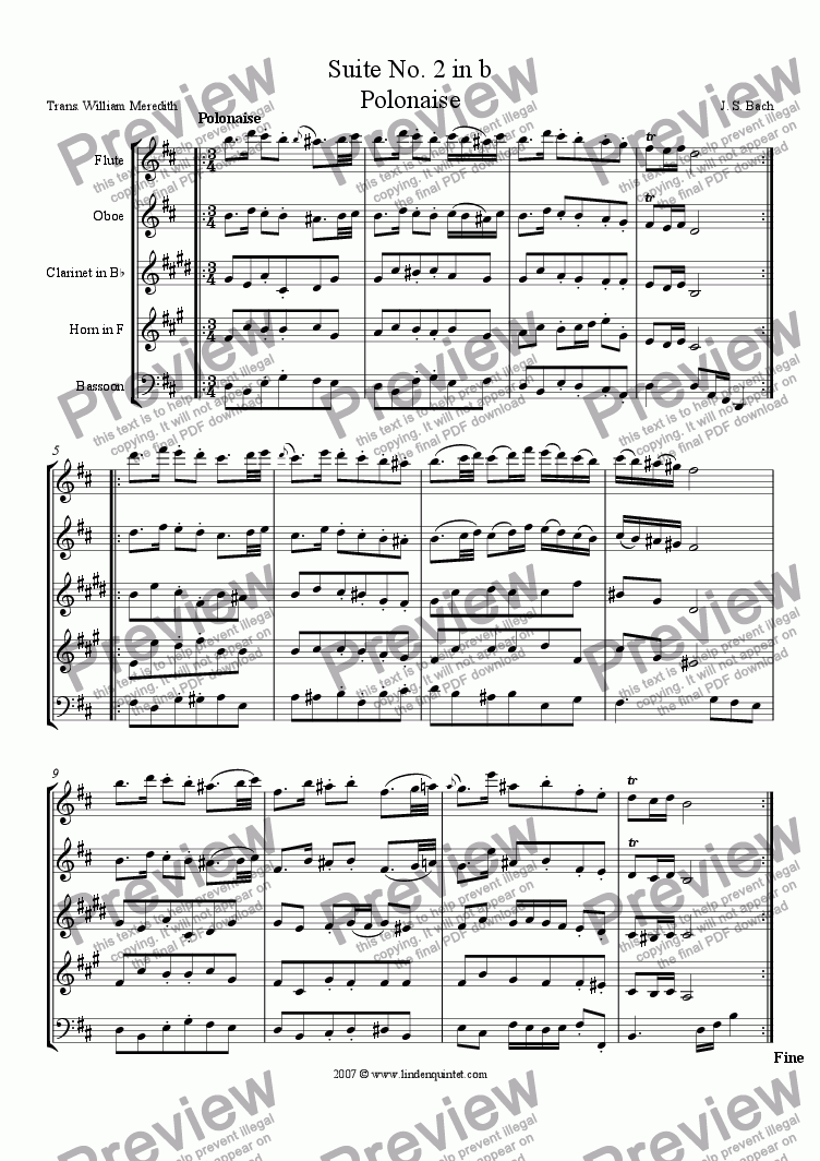 page one of Bach - Suite No. 2 in b, Polonaise and Menuet