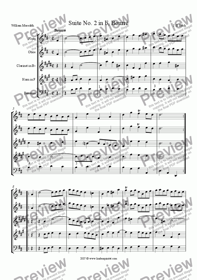 page one of Bach - Suite No. 2 in b, Bouree