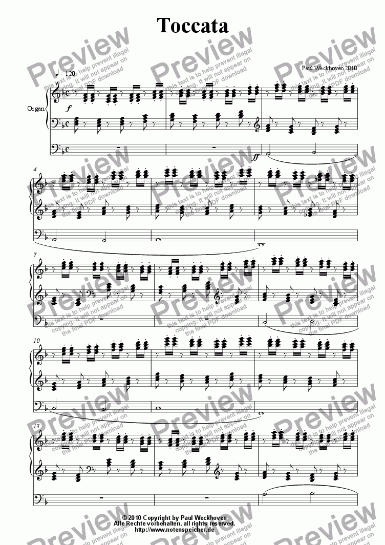 page one of Toccata in d (Paul Weckhoven)