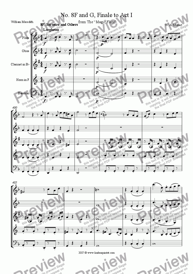page one of Mozart - Magic Flute No. 08, Finale Act I, F and G