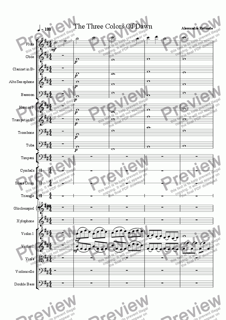 page one of The Three Colors of Dawn - Nova arr.