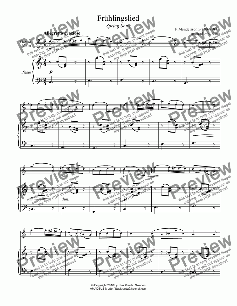 page one of Frühlingslied / Spring Song for flute or violin and easy piano