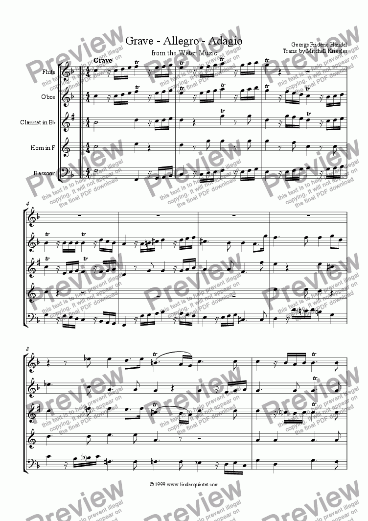 page one of Handel - Water Music Grave, Allegro, Adagio