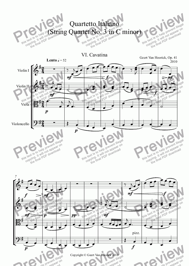 page one of Quartetto Italiano (String quartet No. 3 in C minor), Op. 41 - VI. Cavatina