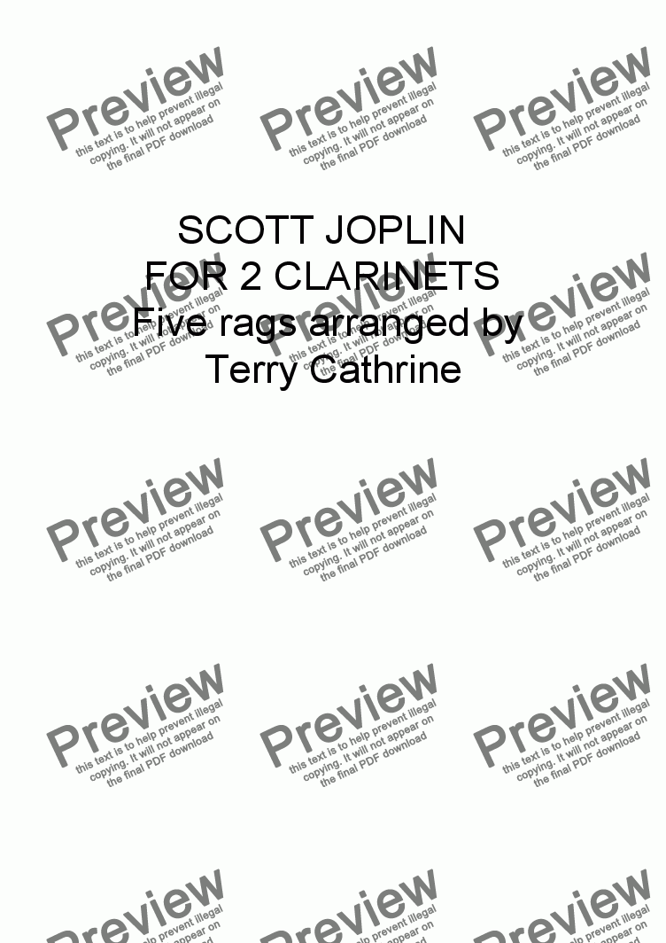 page one of Scott Joplin for 2 Clarinets