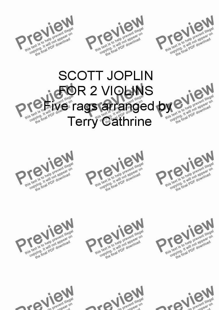 page one of Scott Joplin for 2 Violins